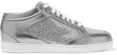 07f655d66fe0 ... Jimmy Choo Miami Glittered And Metallic Leather Sneakers Silver ...