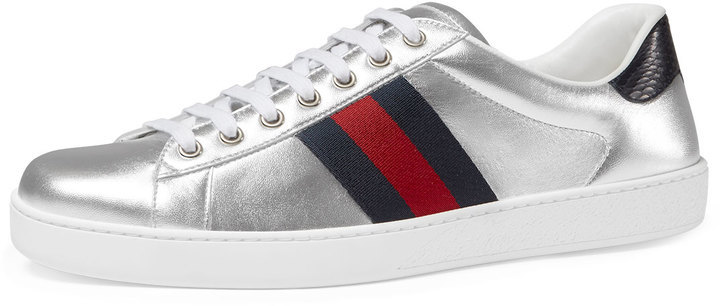 7eae4a1b300c ... Silver Leather Low Top Sneakers Gucci New Ace Metallic Leather Low Top  Sneaker ...