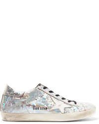 Super star distressed metallic leather sneakers silver medium 1125950
