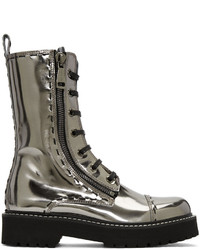 Dolce & Gabbana Silver Leather Combat Boots