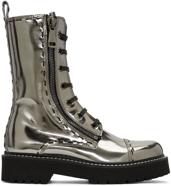 Dolce Gabbana Silver Leather Combat Boots 1595 Ssense
