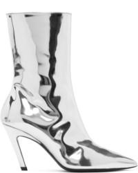 Silver mirror slash heel boots medium 5258351