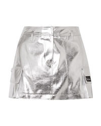 We11done Appliqud Metallic Faux Leather Mini Skirt