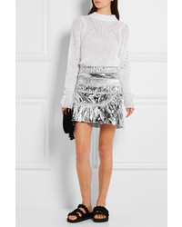 de1d9be9c5 ... Isabel Marant Jeanne Metallic Coated Cotton Blend Mini Skirt Silver ...