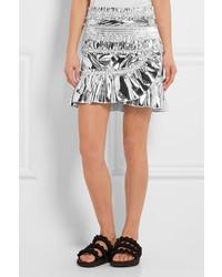 03f3117485 ... Isabel Marant Jeanne Metallic Coated Cotton Blend Mini Skirt Silver