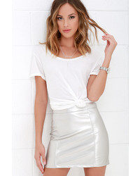 LuLu*s Cyberspace Silver Vegan Leather Mini Skirt