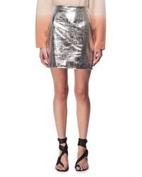 Metallic leather mini skirt silver medium 4984009