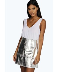 Boohoo Minerva Studded A Line Leather Look Mini Skirt