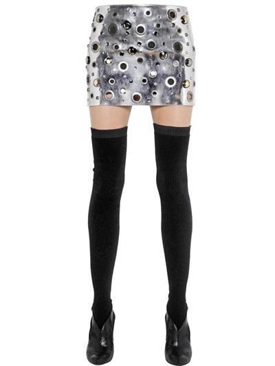 f5d86b08ae Sonia Rykiel Metallic Eyelets Mirror Leather Skirt, $1,421 ...