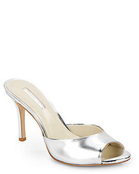 BCBGeneration Disco Metallic Faux Patent Leather Mules