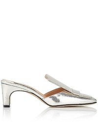 Sergio Rossi Craquel Effect Leather Square Toe Mules