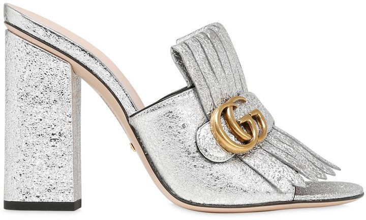 9526d9b81ced ... Gucci 105mm Marmont Gg Crackled Leather Mules ...
