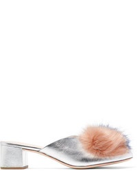 Loeffler Randall Lulu Faux Fur Trimmed Metallic Textured Leather Mules Silver