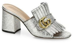 f05121dfd04fa2 ... Gucci Marmont Gg Kiltie Metallic Leather Block Heel Mules ...