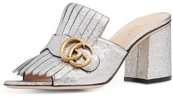 d66129a123b8 ... Silver Leather Mules Gucci Marmont Metallic Leather 75mm Mule ...