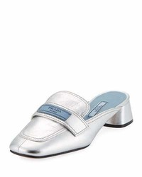 Prada Metallic Leather 35mm Mule Loafer