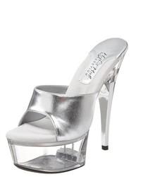 The Highest Heel Lover Sexy 6 Heel Platform Mule Silver Metallic Sandal Shoes