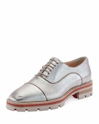 Huberta orlato metallic flat red sole oxford silver medium 4016319