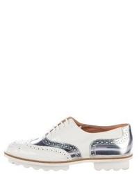 Robert Clergerie Metallic Accented Patent Leather Oxfords