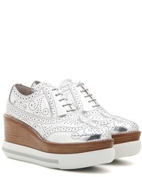 Miu Miu Metallic Leather Platform Oxford Shoes