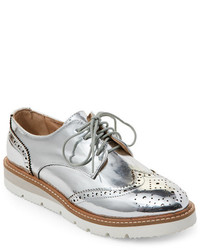 Wanted Silver Downey Platform Wingtip Oxfords