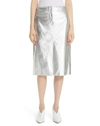Silver Leather Pencil Skirt