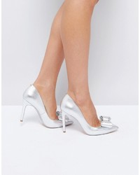 Ted Baker Azeline Silver Leather Bow Pumps