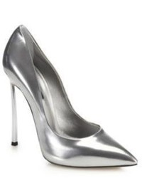 Casadei Blade Metal Heeled Metallic Leather Pumps