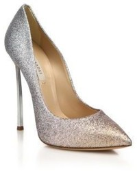 Casadei Degrade Glitter Leather Blade Heel Pumps