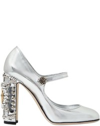 Dolce & Gabbana 105mm Clock Metallic Leather Pumps