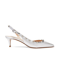 Valentino Garavani The 50 Metallic Textured Leather Slingback Pumps