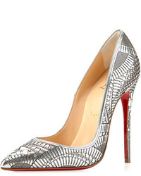 Christian Louboutin Kristali Laser Cut Leather Red Sole Pump Silver