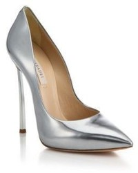 Casadei Metallic Leather Blade Heel Pumps