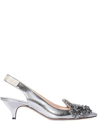 Rochas 50mm Metallic Leather Sling Back Pumps