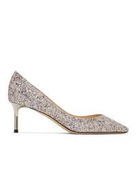 Jimmy Choo Silver Glitter Romy 60 Heels