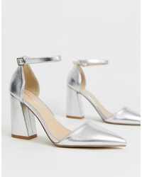 Glamorous Silver Metallic Pointed Heeled Shoes