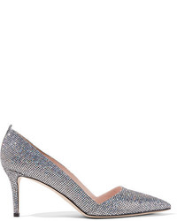 Sarah Jessica Parker Sjp By Rampling Glittered Leather Pumps Silver