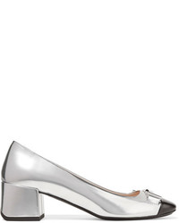 Tod's Two Tone Leather Pumps Silver