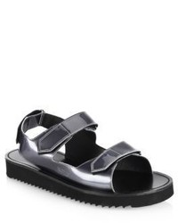 Uri Minkoff Riva Metallic Leather Grip Tape Strap Sandals