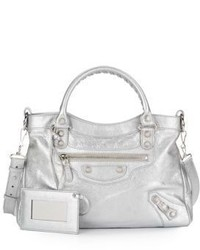 Balenciaga Metallic Leather Classic 12 Town Bag