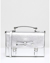 Asos Metallic Satchel Bag With Bow Detail