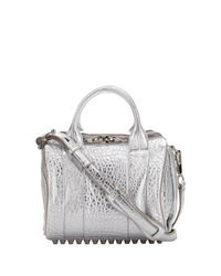 Alexander Wang Rockie Dumbo Metallic Satchel Bag Silver