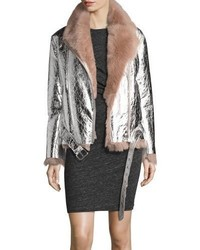 Metallic leather biker jacket with shearling lining medium 5207947