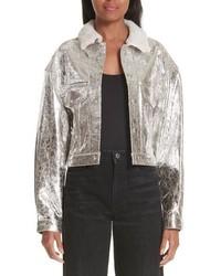 Simon Miller Metallic Leather Jacket With Genuine Shearling Collar