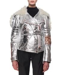Proenza Schouler Metallic Leather Shearling Moto Jacket Silver
