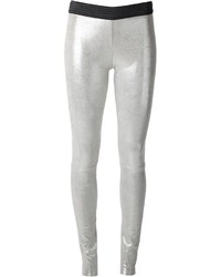Silver Leather Skinny Pants