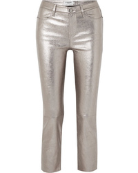 Frame Cropped Metallic Stretch Leather High Rise Straight Leg Pants