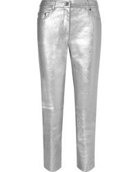 Moschino Metallic Leather Skinny Pants