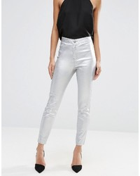 Asos Rivington High Waist Denim Jeggings In Metallic Silver