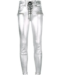 Unravel Project Metallic Skinny Leather Pants